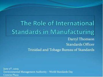 Manufacturing and International Standards - Environmental ...