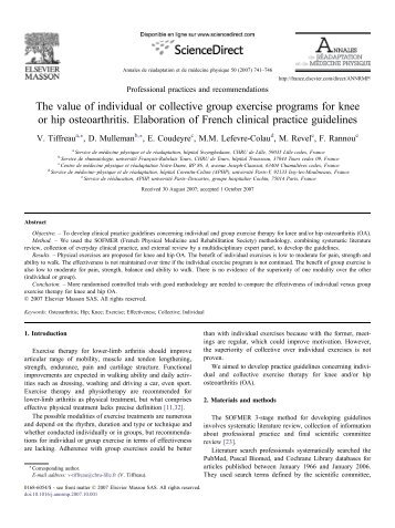 The value of individual or collective group exercise ... - ResearchGate