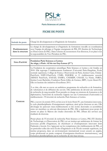 FICHE DE POSTE - MINES ParisTech