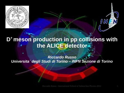 D+ meson production in pp collisions with the ALICE detector - Infn