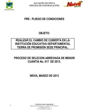 PRE - PLIEGO DE CONDICIONES OBJETO: REALIZAR EL CAMBIO ...