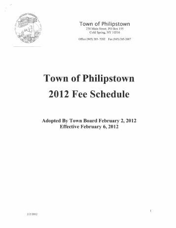 2012 Fee Schedule Adopted February 2, 2012 - Town of Philipstown