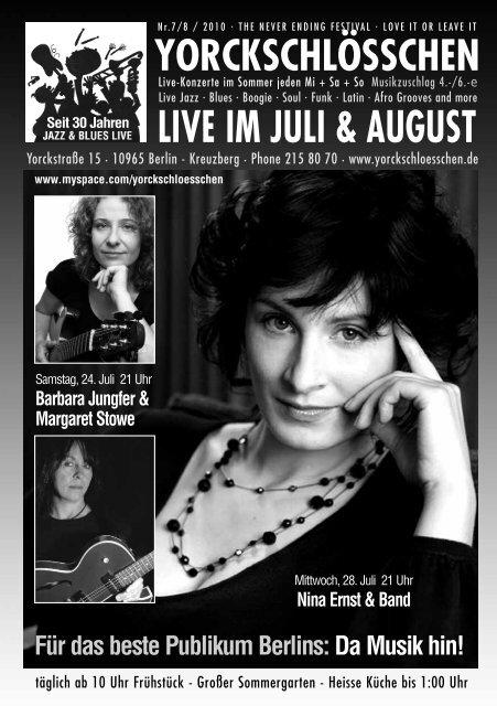 LIVE IM JULI & AUGUST - Yorckschlösschen