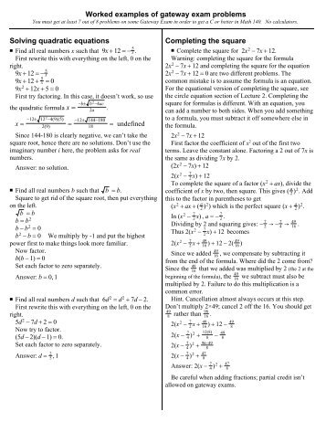 Mat 1033 Square Root Property And Completing The Square