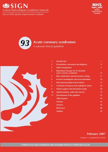 Acute coronary syndromes. (SIGN Guideline No 93) - Cardio