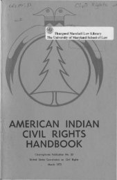 American Indian Civil Rights Handbook - University of Maryland ...