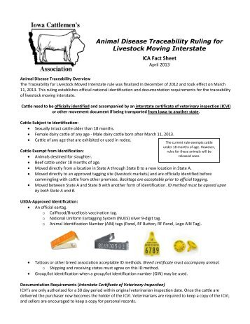 Animal Disease Traceability Ruling for Livestock Moving Interstate ...