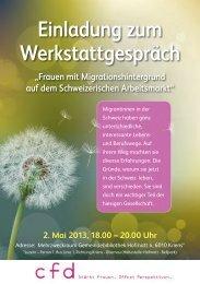 Einladung zum Werkstattgespräch 2. Mai 2013, 18.00 ... - Albinfo.ch
