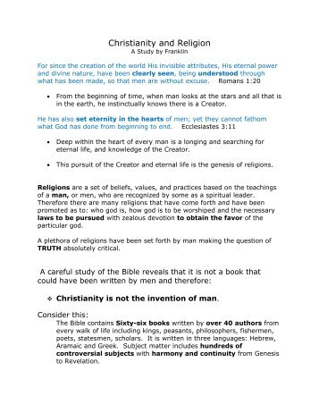 Christianity and Religion - Treasure His Word