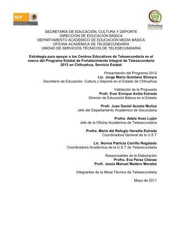 Chihuahua Estatal - Telesecundaria - Secretaría de Educación ...