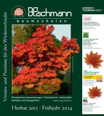 Herbst 2013 · Frühjahr 2014 - Baumschule Hachmann