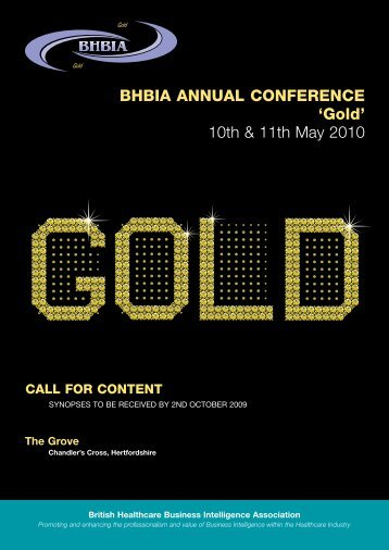 BHBIA ANNUAL CONFERENCE 'Gold' 10th & 11th May 2010
