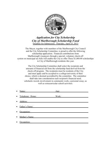 Application for Scholarship - The City of Marlborough