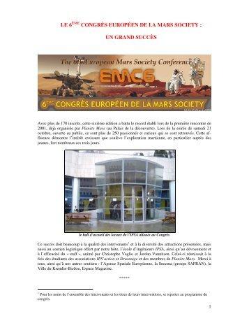 le 6ème congrès européen de la mars society : un ... - Planète Mars
