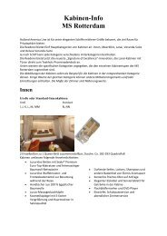 Kabinen-Info MS Rotterdam - Master Cruises & Tours