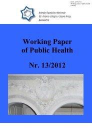 Working Paper of Public Health Nr. 13/2012 - Azienda Ospedaliera ...