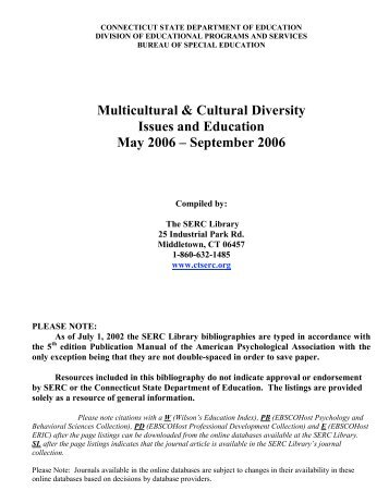Multicultural & Cultural Diversity Issues and Education May 2006 ...