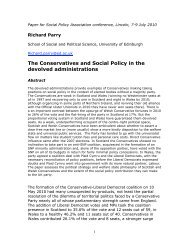 The Conservatives and Social Policy in the devolved administrations