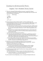 Grundzüge der mikroökonomischen Theorie Aufgaben - Teil 1 ...