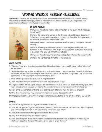 Woman Warrior Reading Questions - Rowland High School