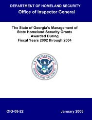 The State of Georgia's Management of State of Homeland Security ...