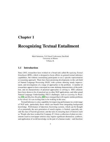 Recognizing Textual Entailment - Dan Roth