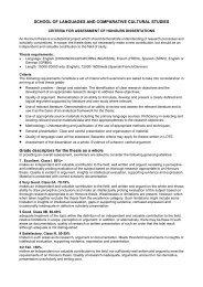SLCCS Honours marking criteria general - School of Languages ...