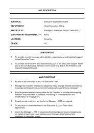 JOB DESCRIPTION JOB TITLE: Executive Support Assistant ...