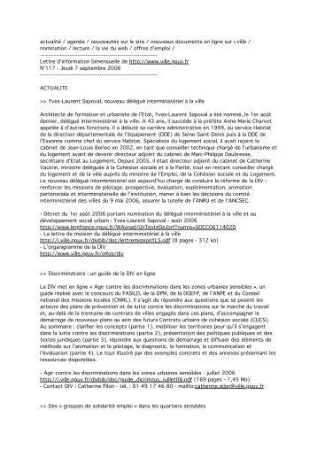 n°117 - 7 septembre 2006 - Délégation interministérielle à la ville