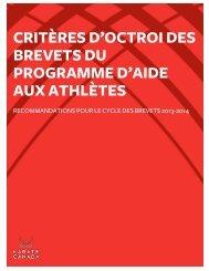 critères d'octroi des brevets sportifs - Karate Canada