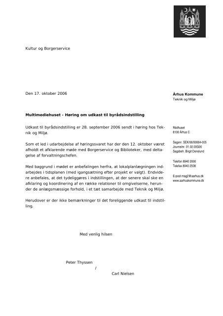 Århus Kommune Kultur og Borgerservice Den 17. oktober 2006 ...