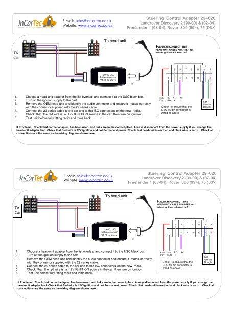 [QNCB_7524]  29-620 Landrover Discovery Steering control - www.incartec.co.u | Rover 620 Wiring Diagram |  | Yumpu