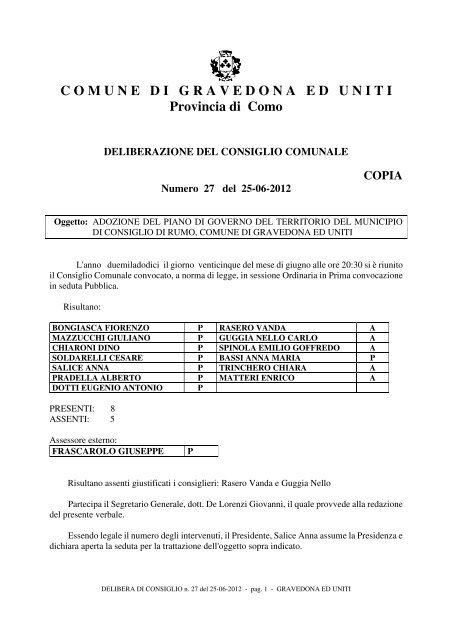 COMUNEDIGRAVEDONAEDUN ITI Provincia di Como