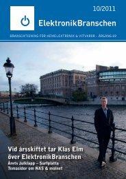 10/2011 Vid årsskiftet tar Klas Elm över ElektronikBranschen