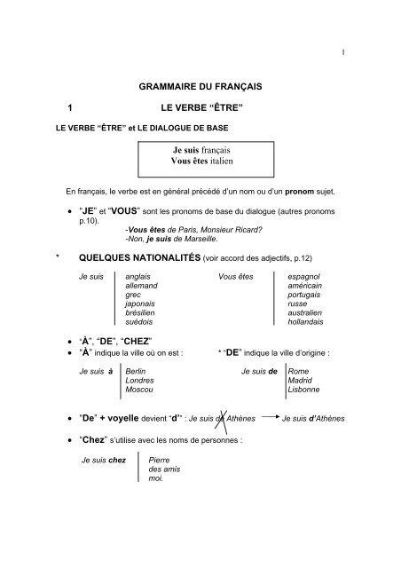Examen Corrige Grammaire Du Francais 1 Le Verbe Tiera Pdf