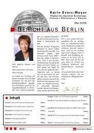Bericht aus Berlin Mai 2009 - Karin Evers-Meyer