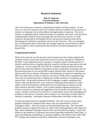 Research Statement - Welcome to the Department of Statistics - Yale ...