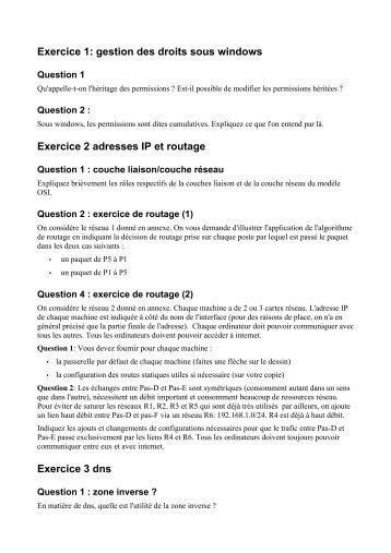 Examen corrigé Exercice 1: gestion des droits sous windows ...