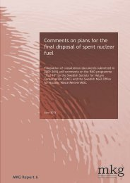 Comments on plans for the final disposal of spent nuclear fuel