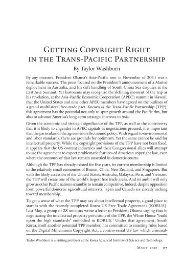 Getting Copyright Right in the Trans-Pacific Partnership