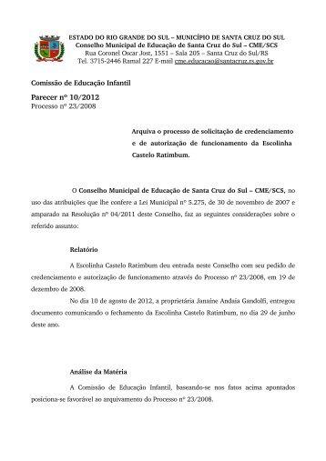 Parecer nº 10/2012 - Prefeitura de Santa Cruz do Sul