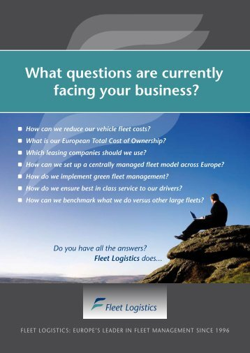 What questions are currently facing your business? - Fleet Logistics