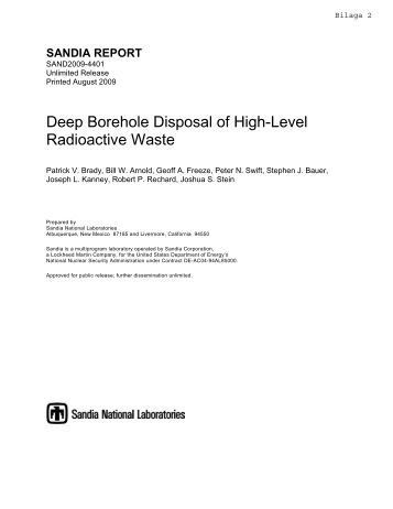 Deep Borehole Disposal Of High-Level Radioactive Waste