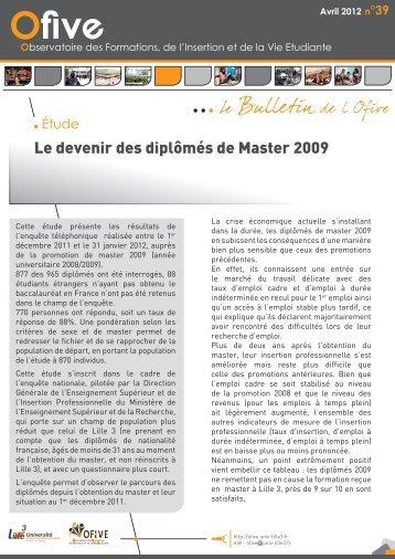Le devenir des diplômés de Master 2009 - OFIVE - Lille 3