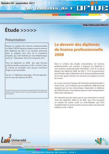 Le devenir des diplômés de licence professionnelle 2008 - OFIVE