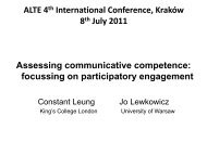 Assessing communicative competence - ALTE