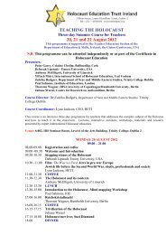TEACHING THE HOLOCAUST 20, 21 and 22 August 2012