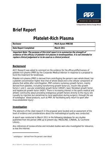 Platelet-rich plasma - ACC