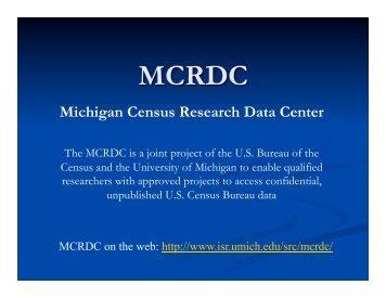 (RDC)? - National Poverty Center - University of Michigan