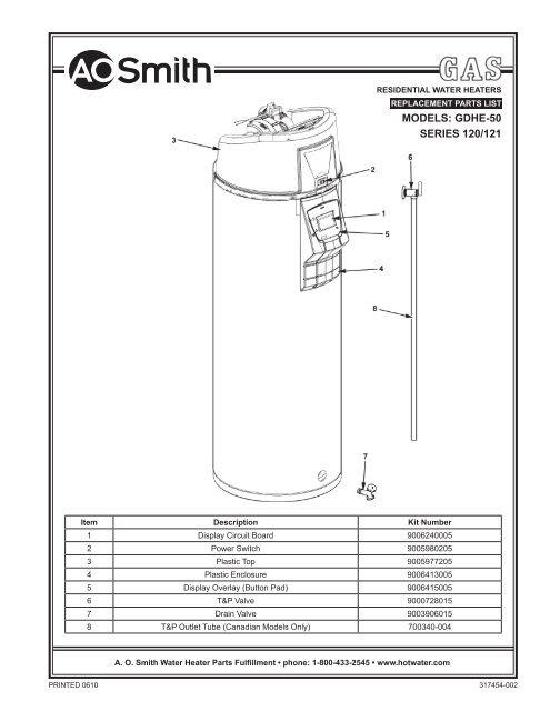 Ao Smith Water Heater Parts Manual